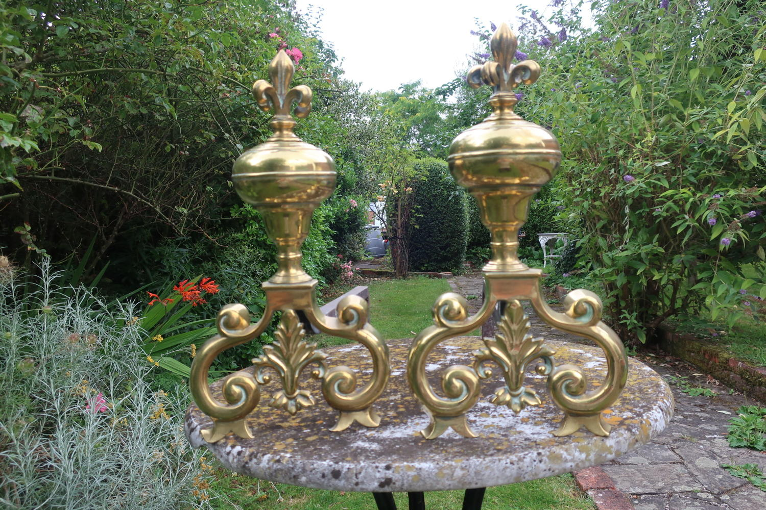 Large 19th Century Andirons