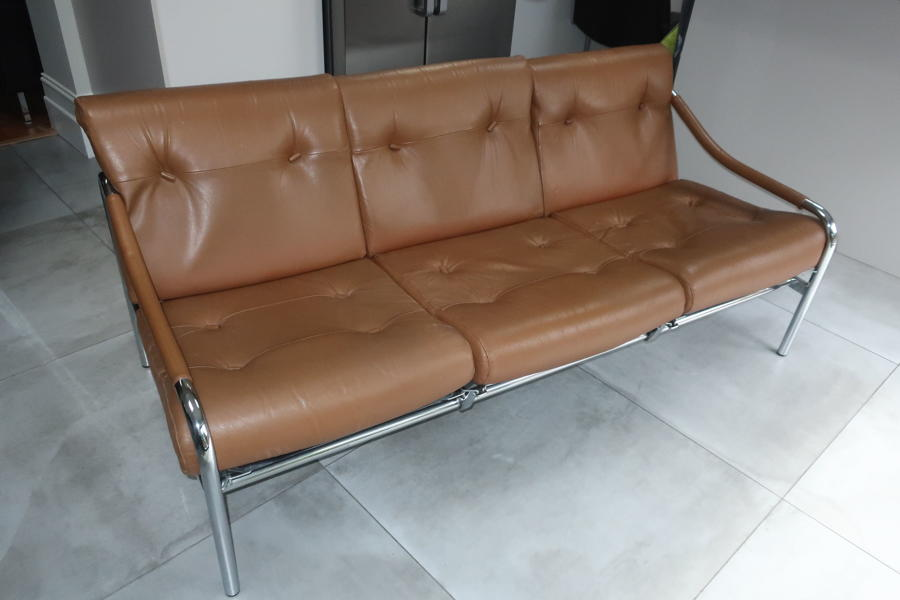 Pieff three seater tan leather sofa