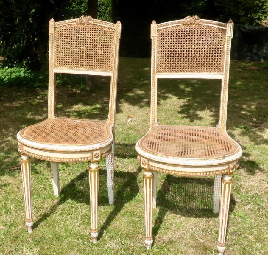 Pretty pair of caned chairs