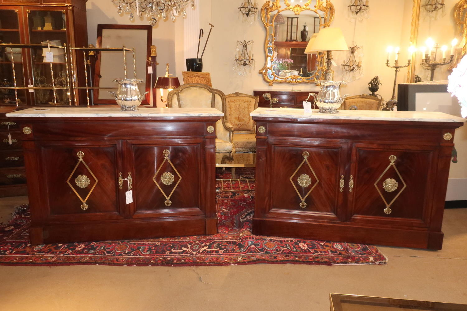 Pair of flame mahogany side cabinets