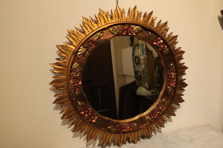 Large carved wood sunburst mirror
