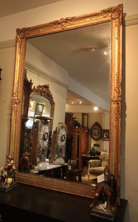 Very large antique gilt mirror