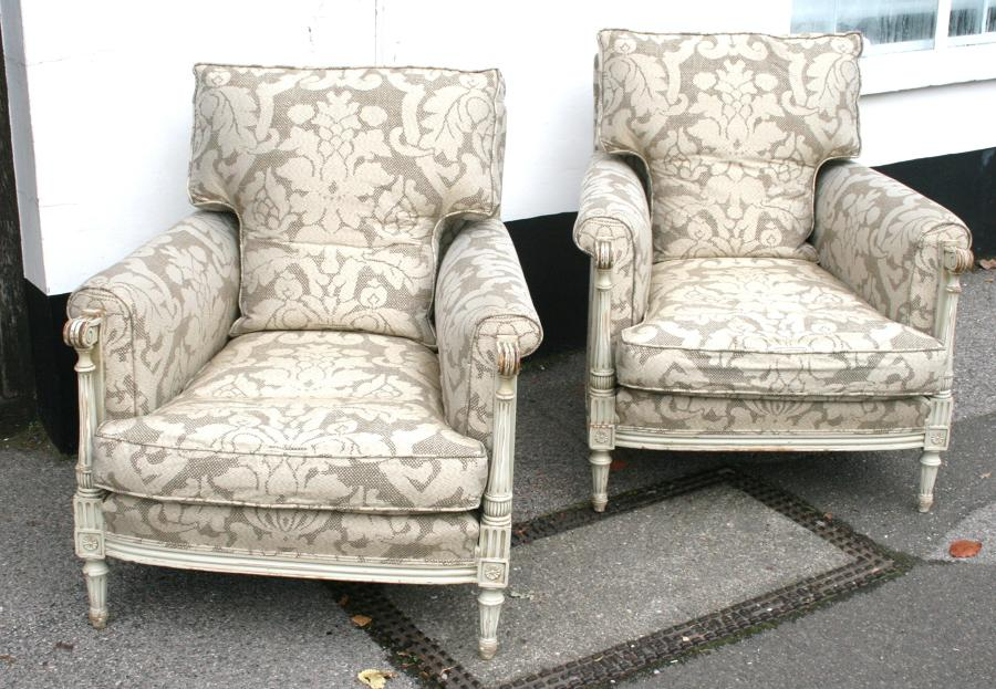 Very Comfortable Pair Of Louis Style Chairs