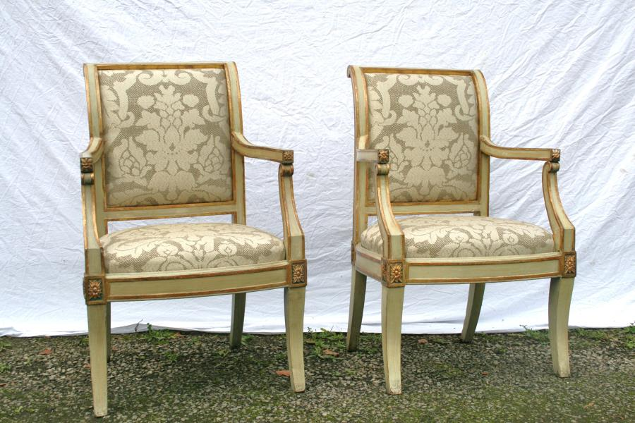 Pair Of Period Italian Open Armchairs