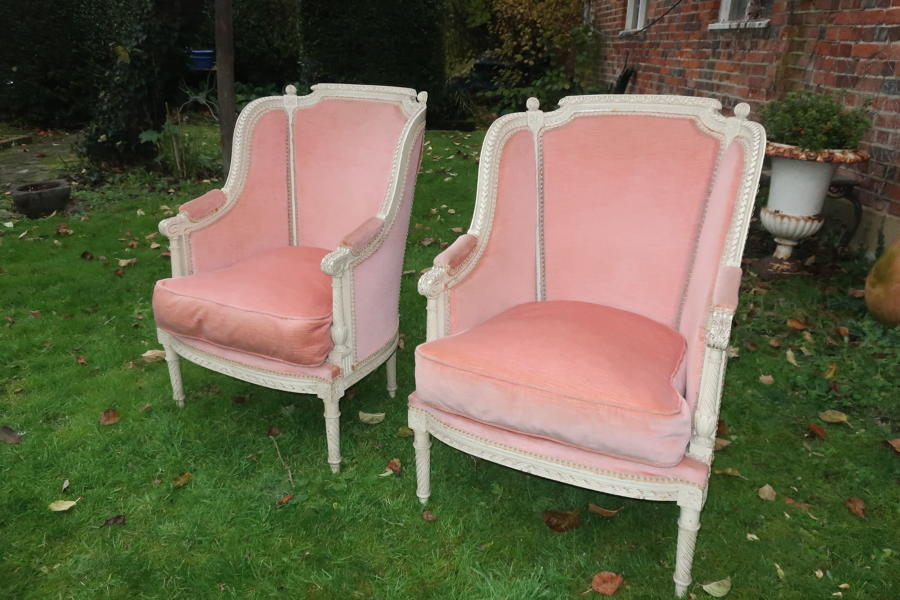 Pair of carved Bergere armchairs