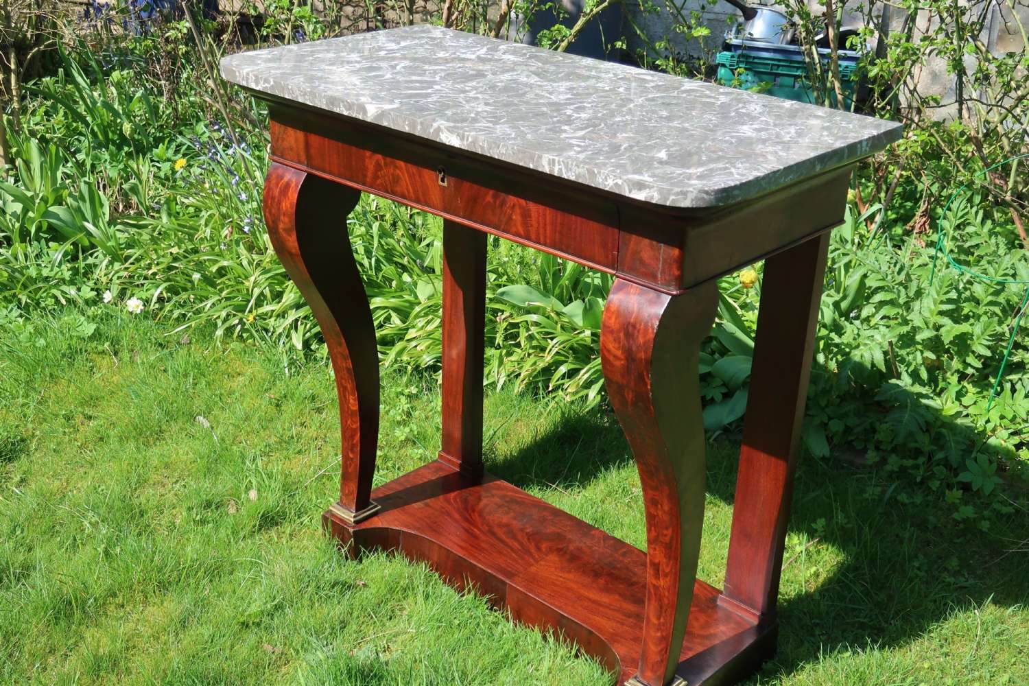 Flame mahogany console table