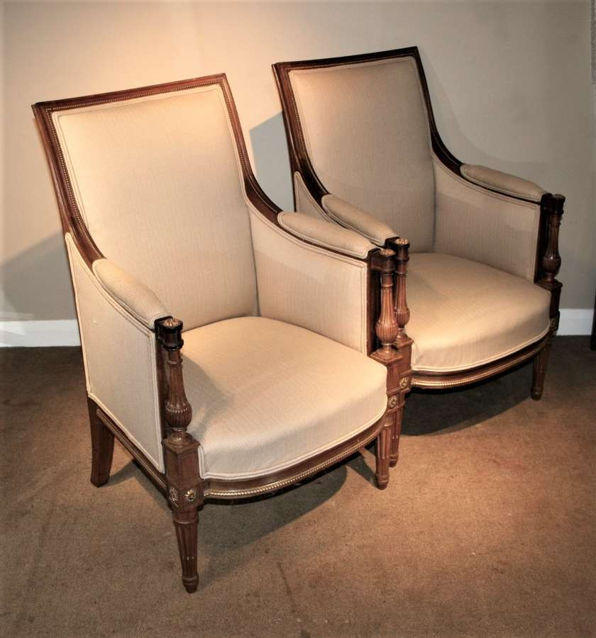 Pair of Empire style mahogany arm chairs