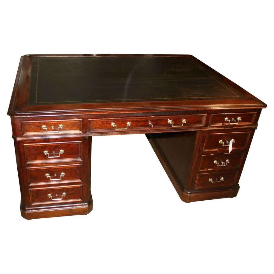 French large partners desk in mahogany