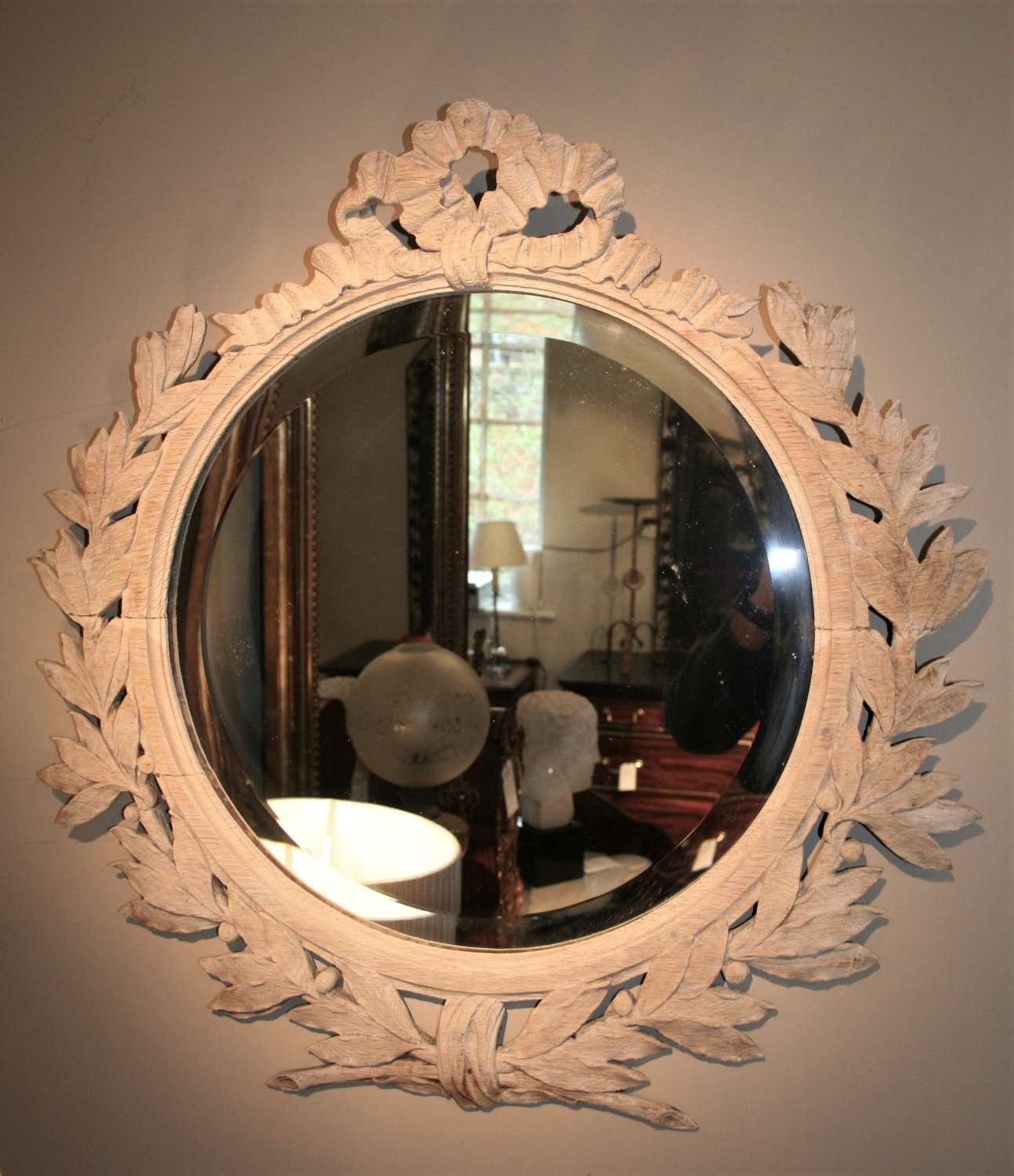 Solid oak carved bleached mirror