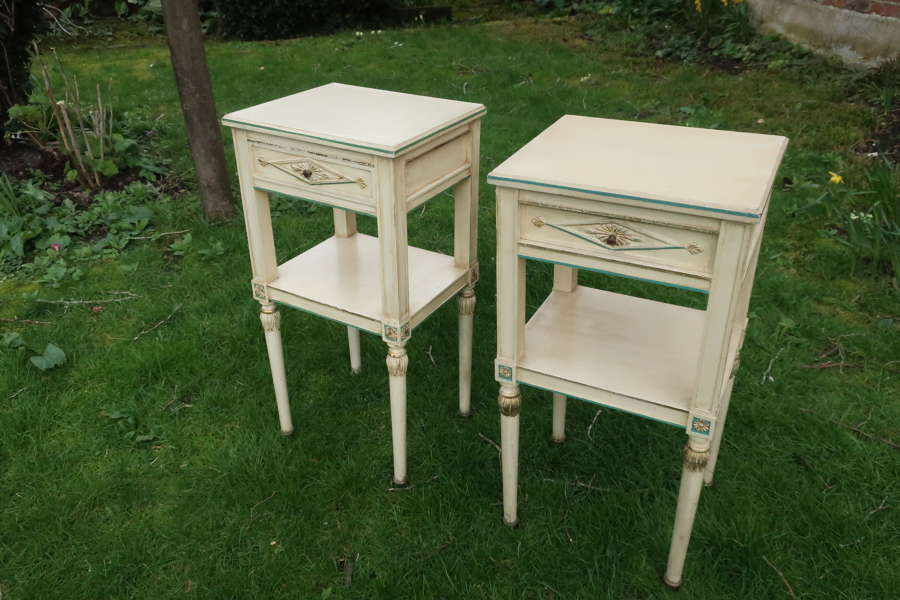 Pair of French painted bedside tables