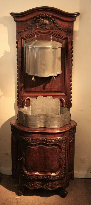 Unusual French walnut wash stand