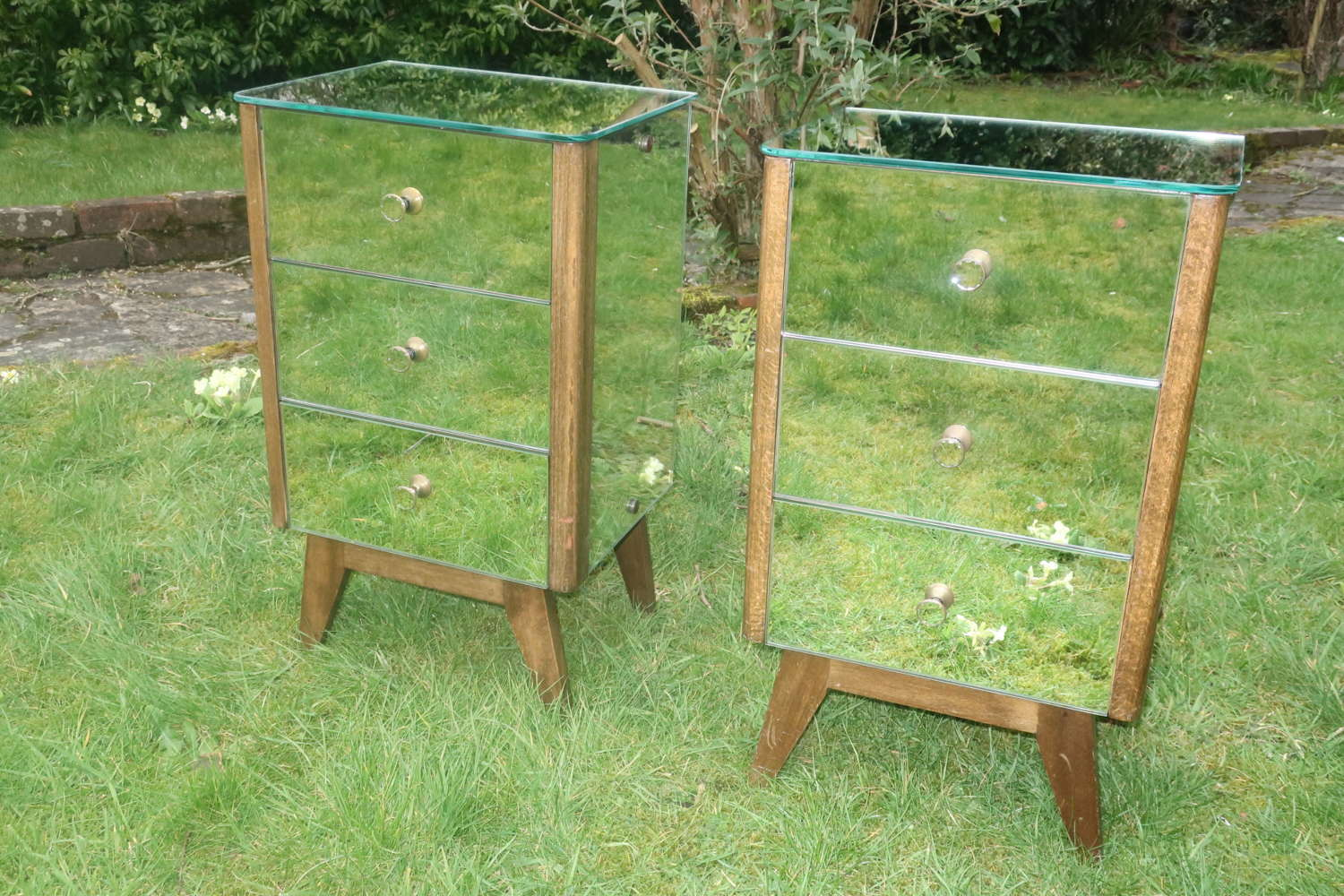 Pair of Art Deco mirrored bedside tables