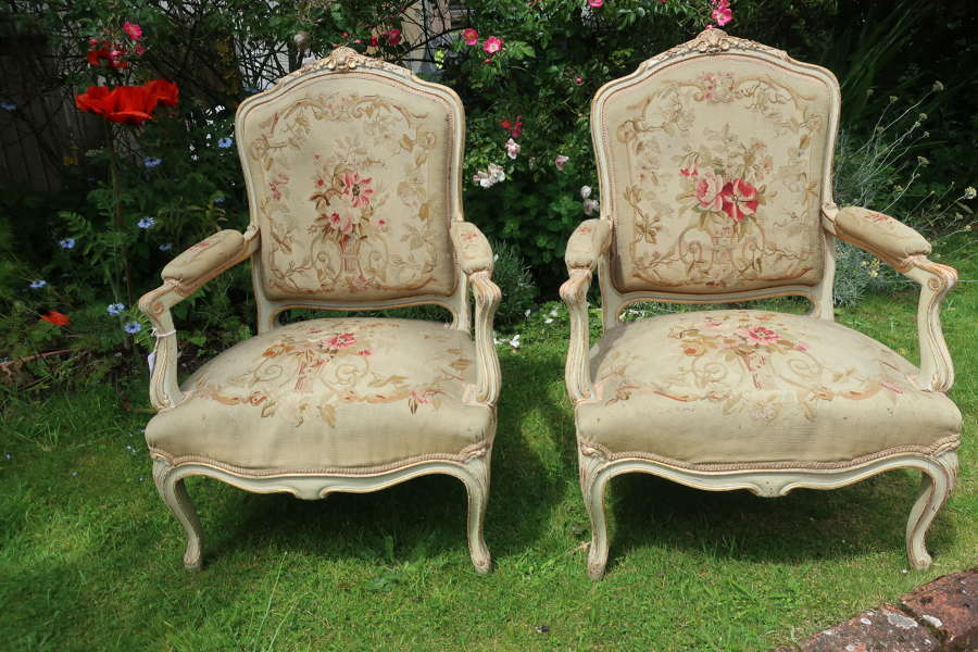 Pair of painted needlepoint armchairs