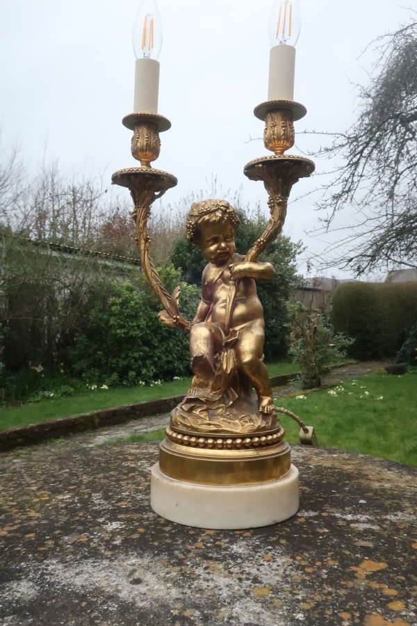 Large gilt bronze cherub lamp