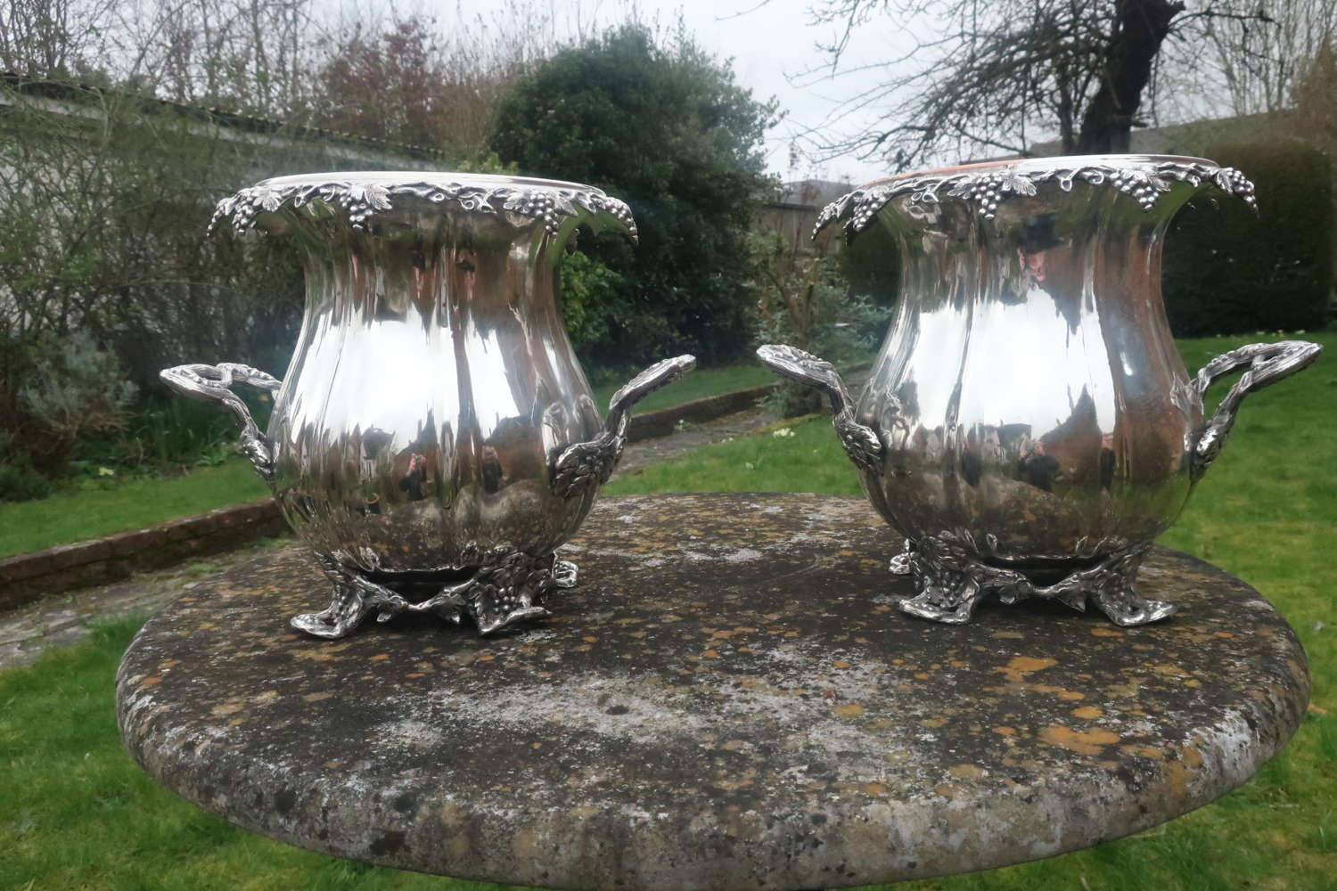 "Pair of "" Sheffield Plate"" wine coolers"