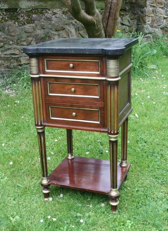 Empire style mahogany bedside table