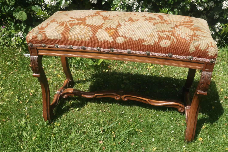 Walnut and needlepoint stool
