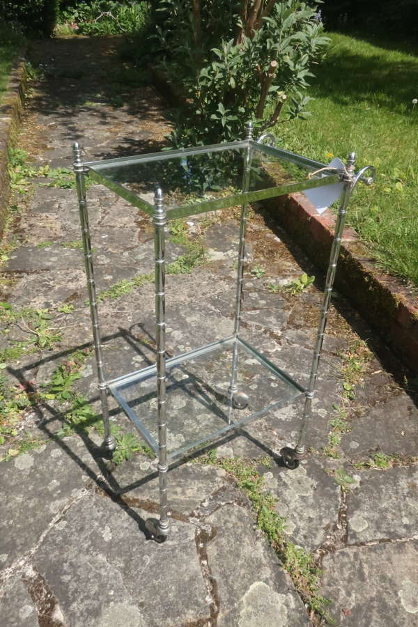 Small silver plate trolley or bar cart