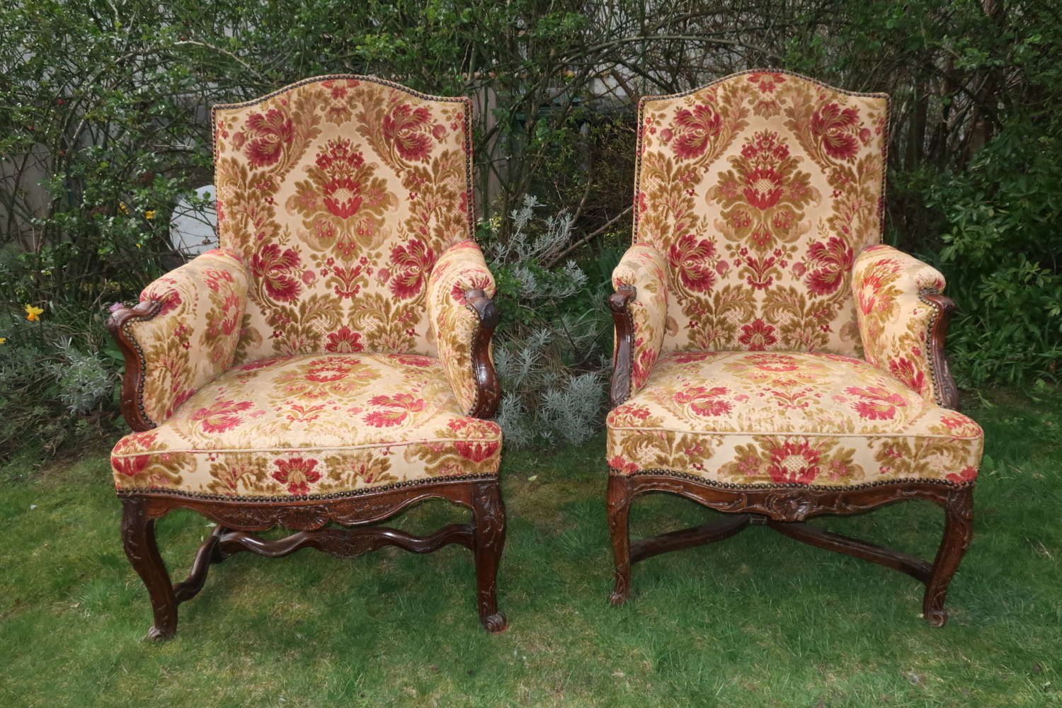 Matched pair of 18th Century French Bergere armchairs