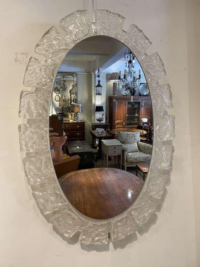 Oval lucite mid century mirror