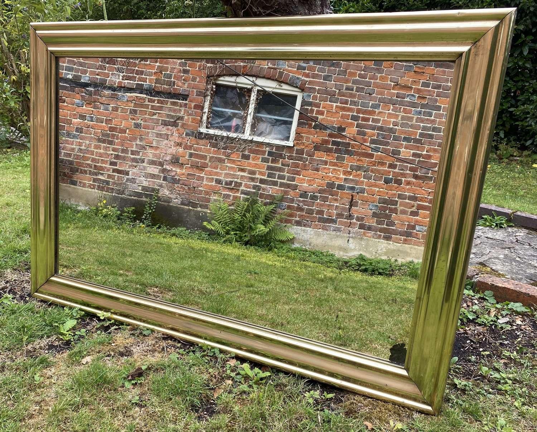 Large brass bistro mirror