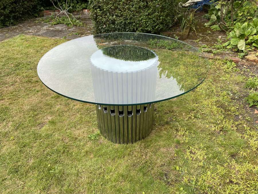 Italian dining table in chrome and glass