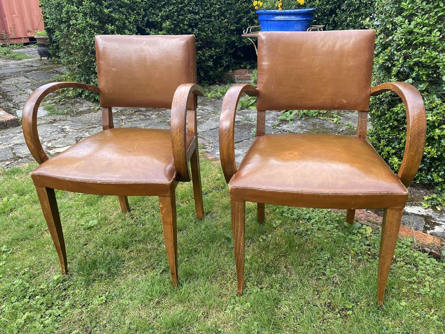 Pair of leather bridge chairs