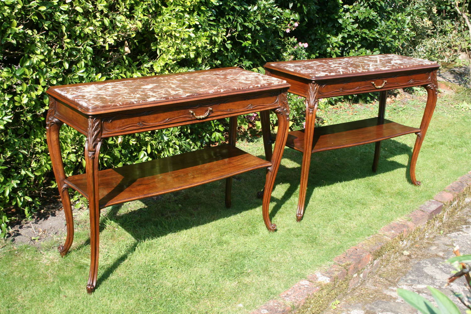 Rare pair french console tables