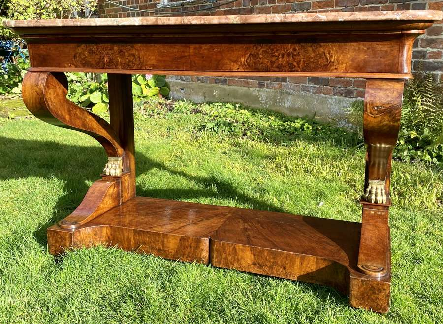 Large figured walnut console table