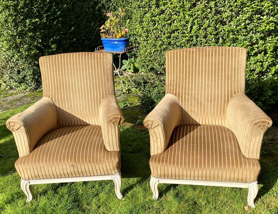 Pair of large upholstered armchairs