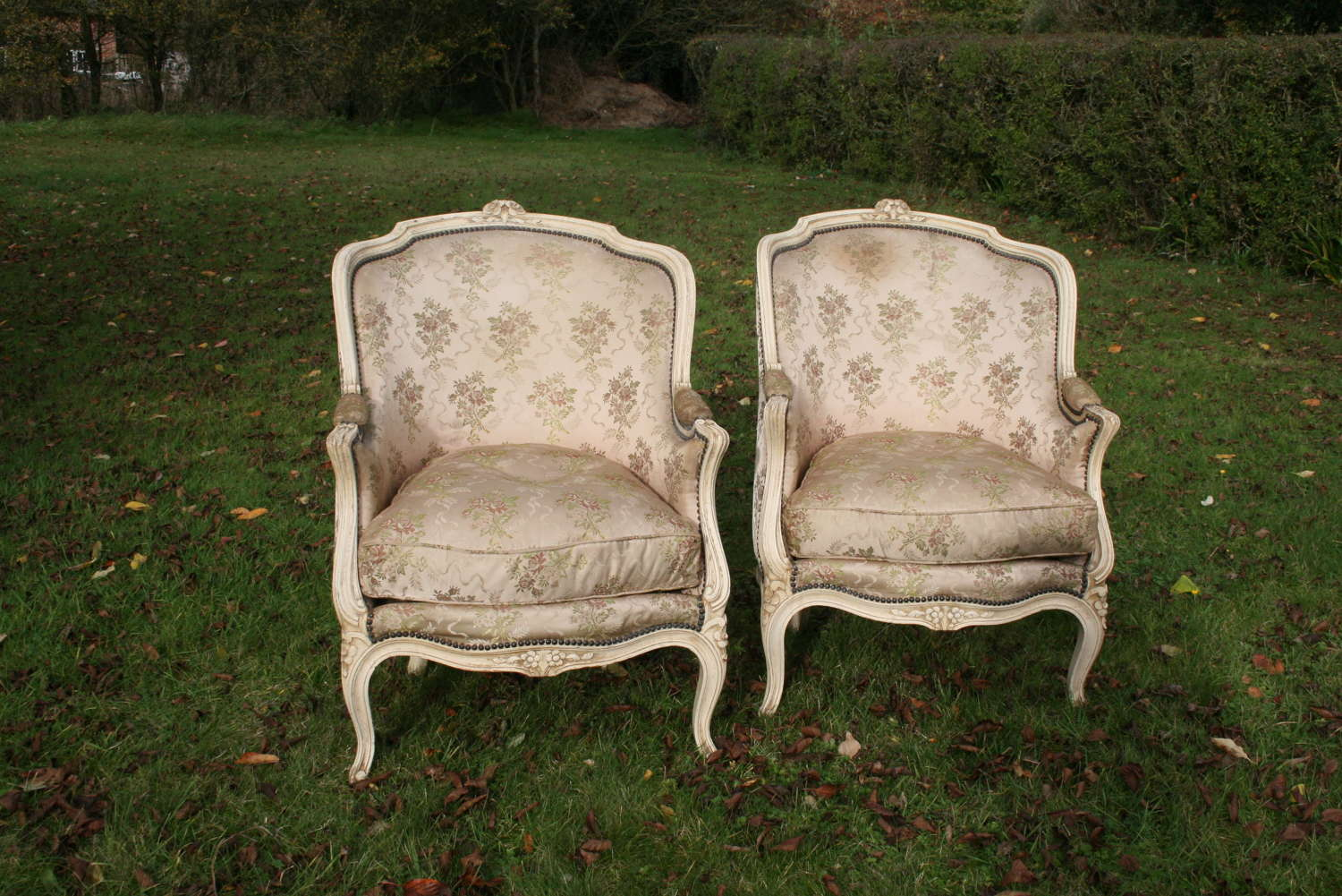 Large pair french bergere armchairs