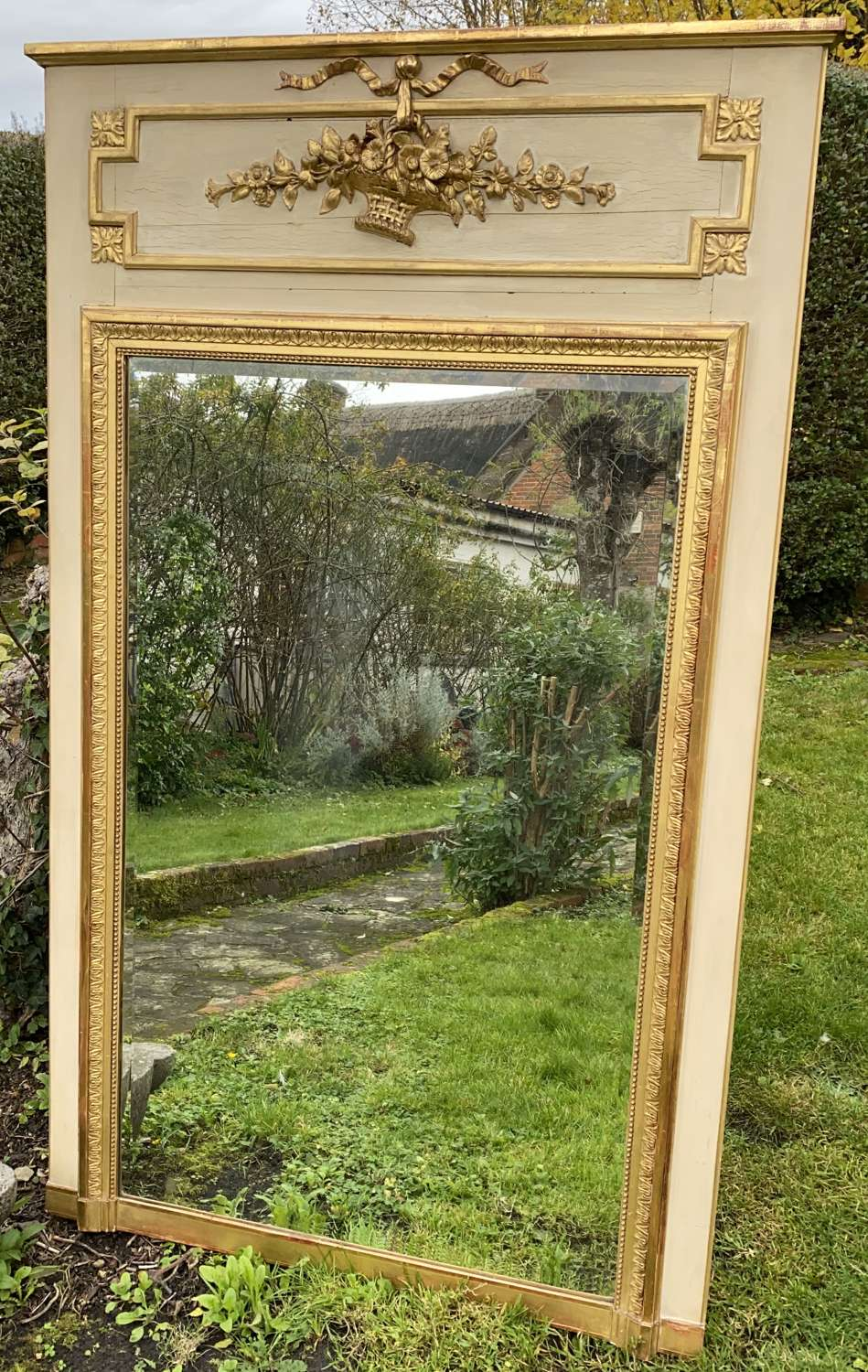 Painted and gilded Trumeau mirror