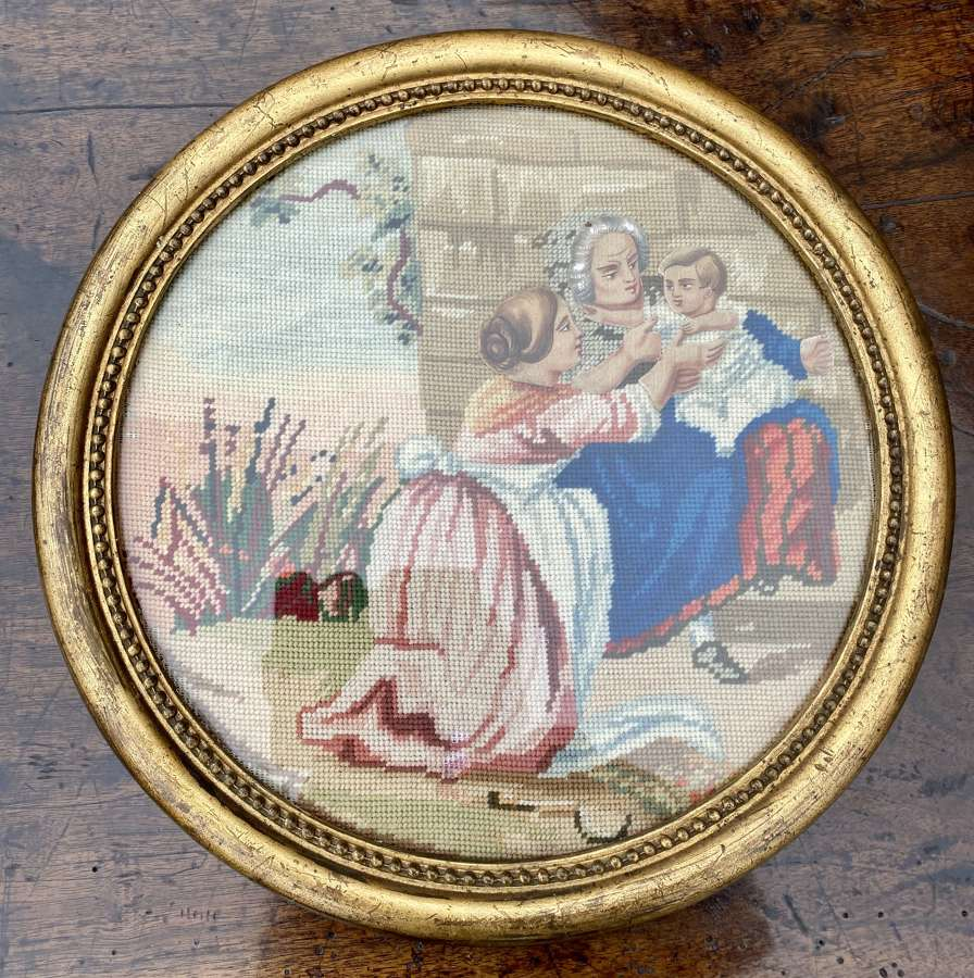 Pair of round 19th Century needlepoint pictures