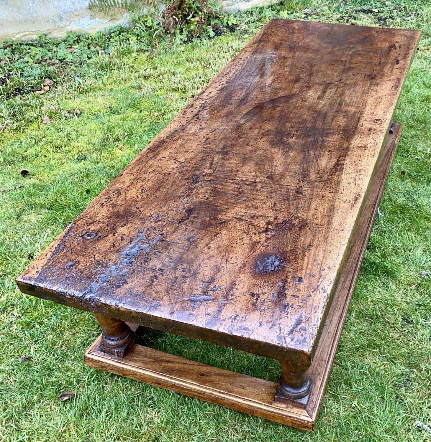 Large solid walnut coffee table