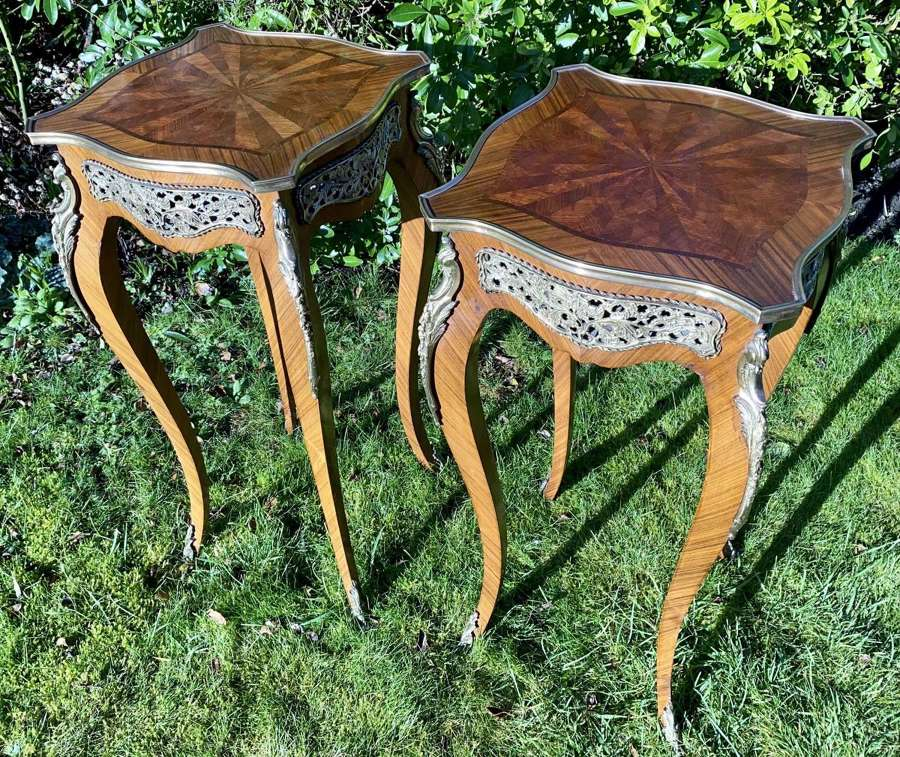 Pair of parquetry stands