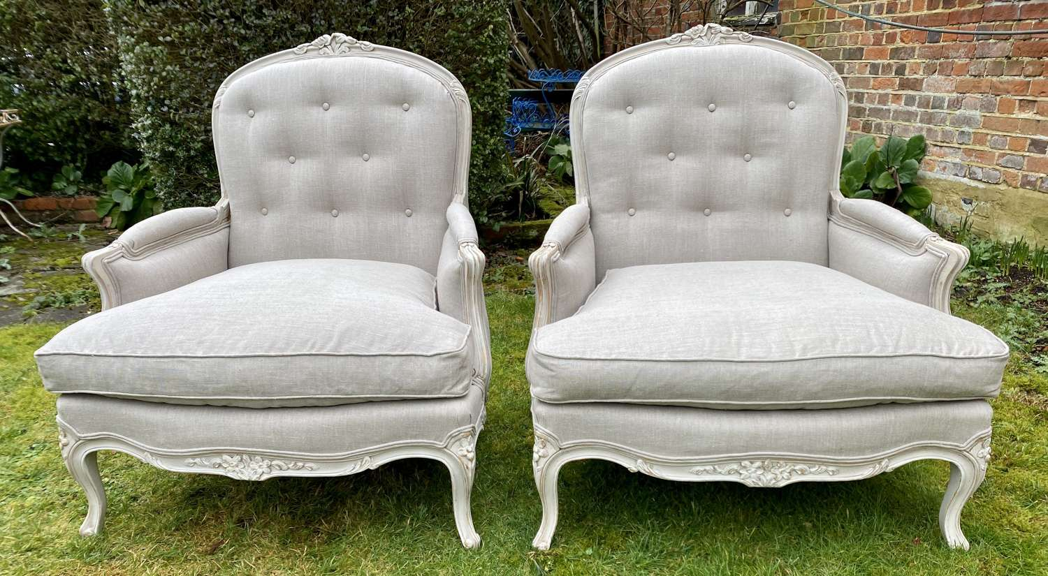 Pair of very large Bergere armchairs