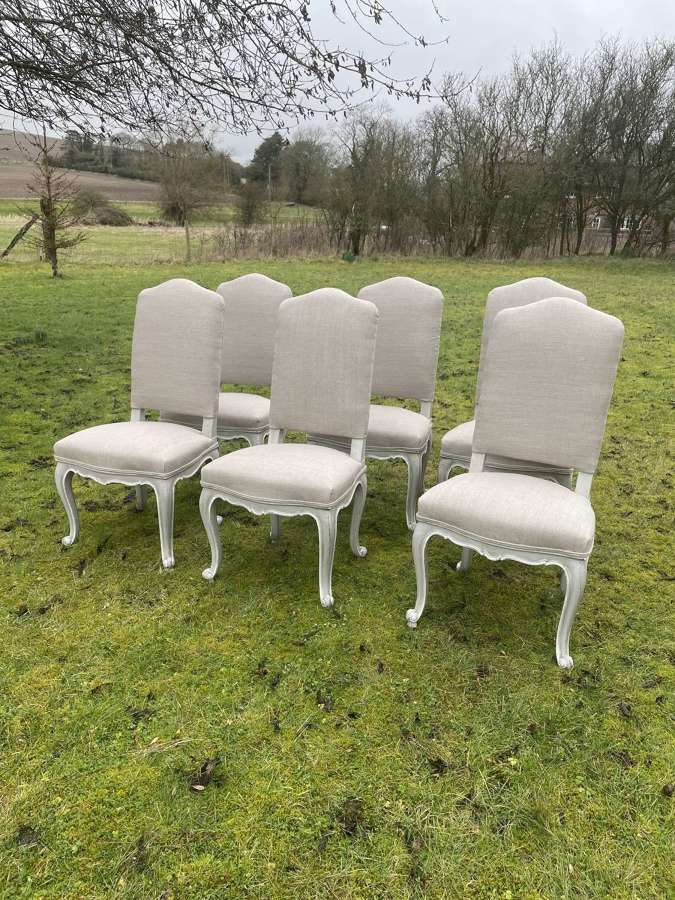 Lovely Set Of 6 French Dining Chairs