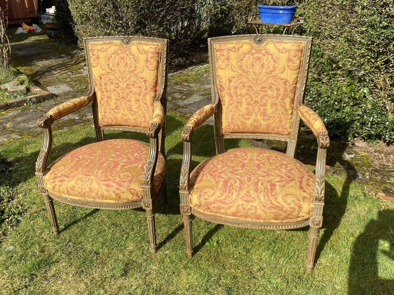 Pair of original paint armchairs