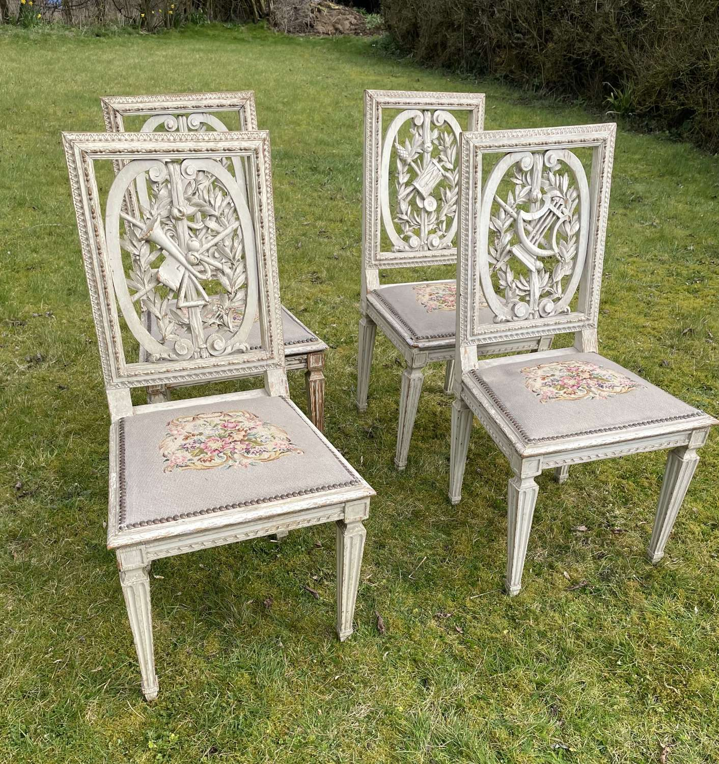 Rare Set Of 4 French Music Chairs