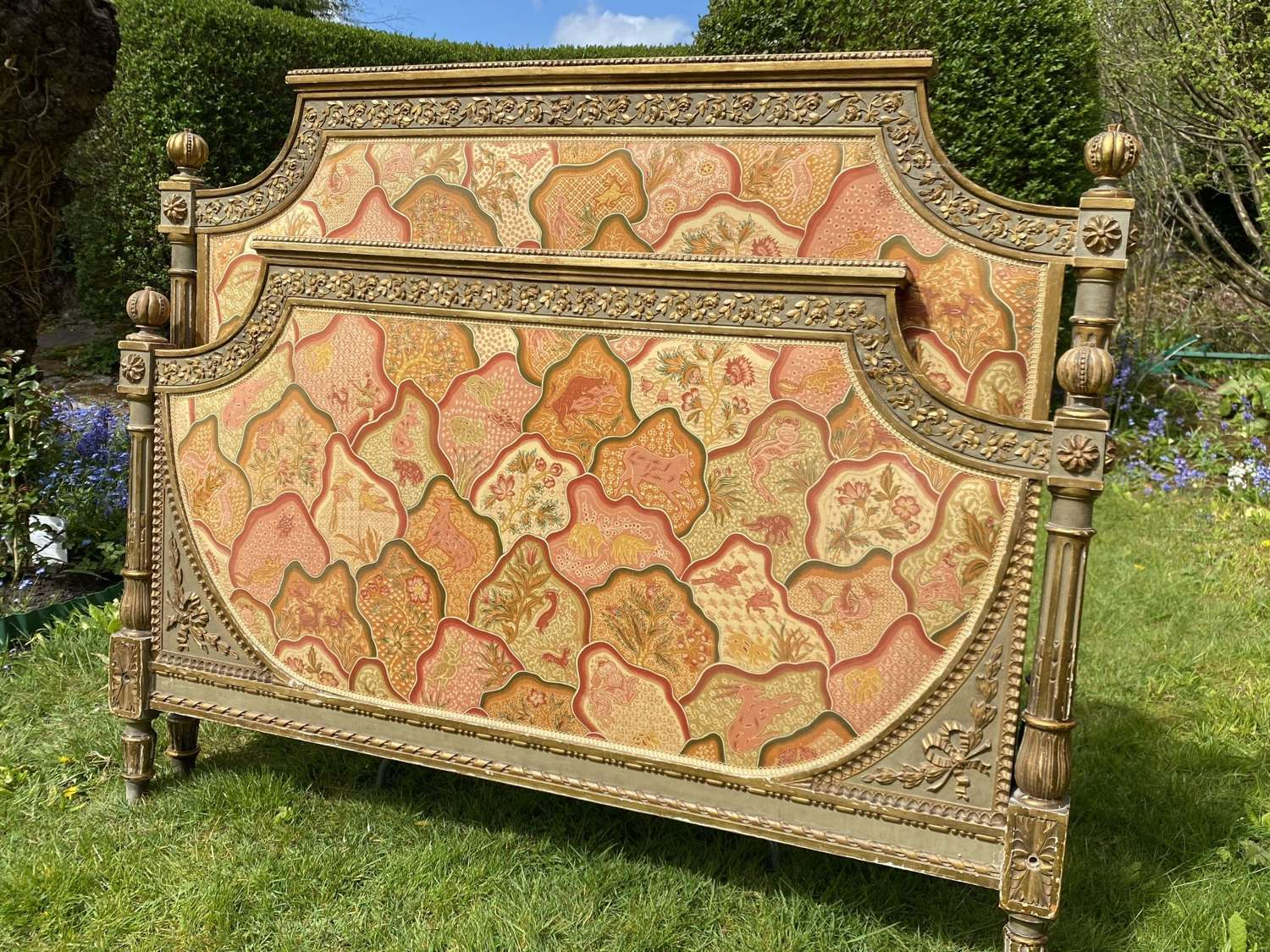 Painted and gilded antique double bed
