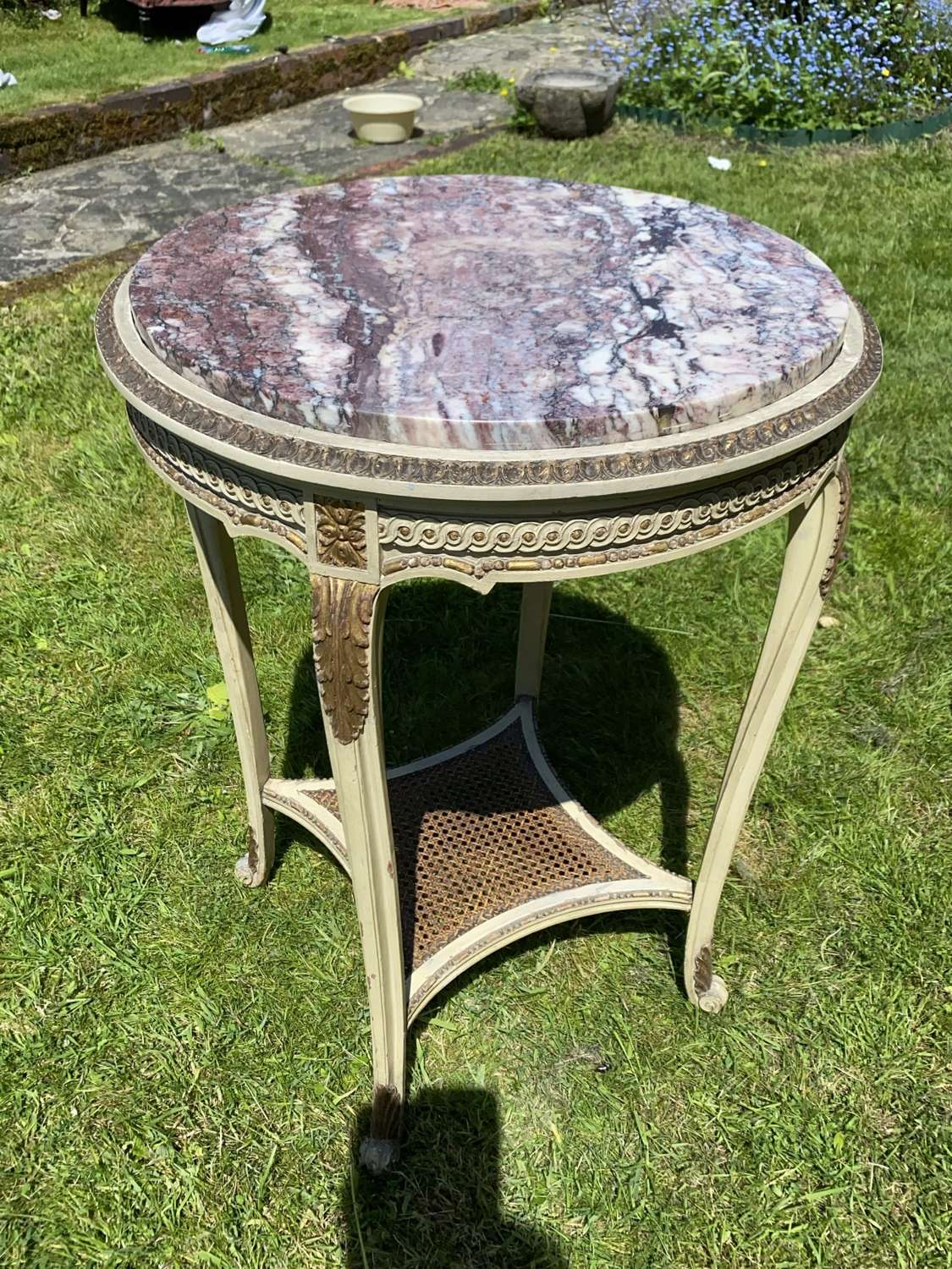Painted and gilded ,arable topped table