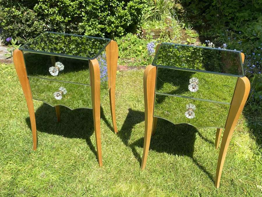 Pair of mid century mirrored bedside tables