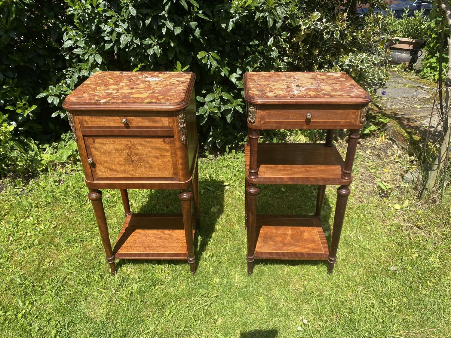 Pair of inlaid bedside tables