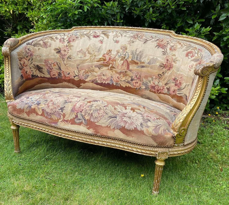 Pretty French needlepoint sofa