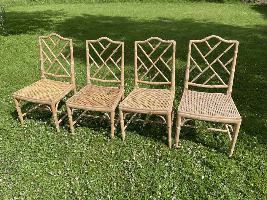 A Set of 4 Chippendale Style Faux Bamboo Chairs