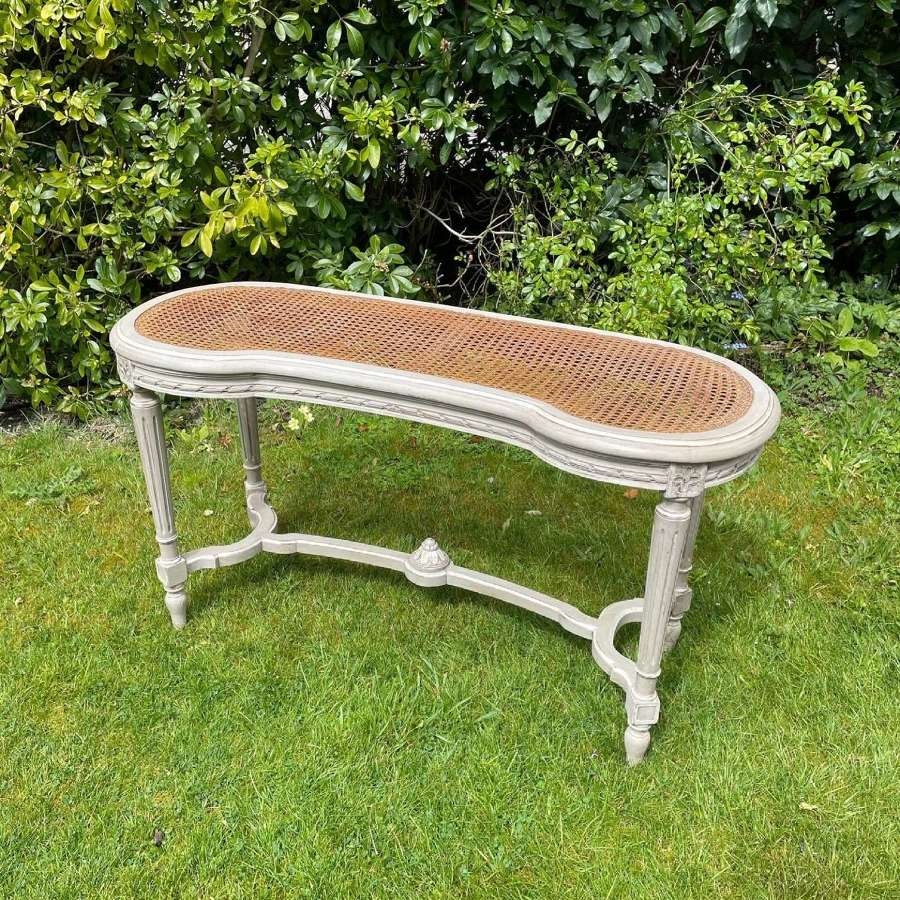 Pretty French Painted Caned Stool