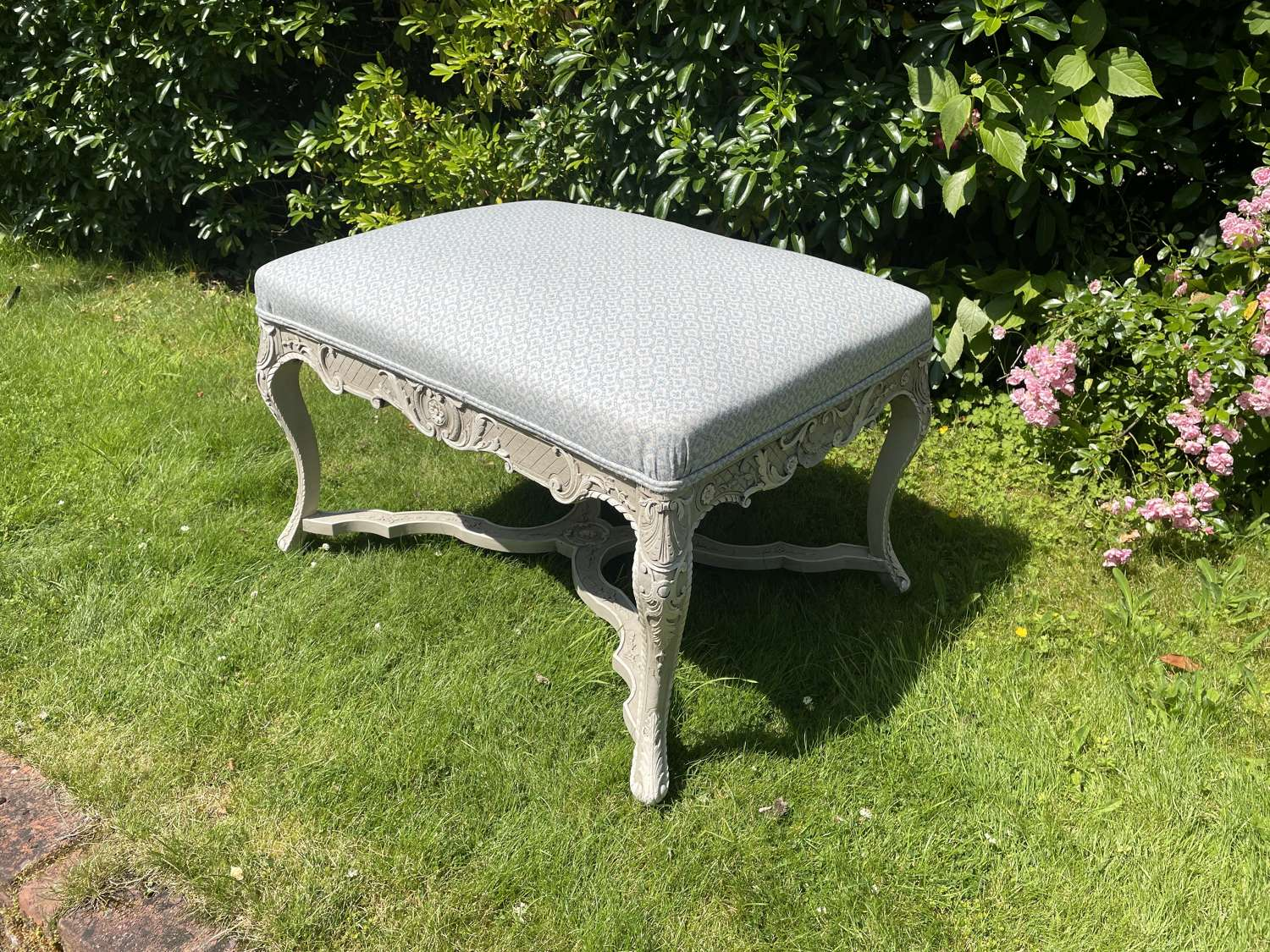 French Carved & Painted Stool