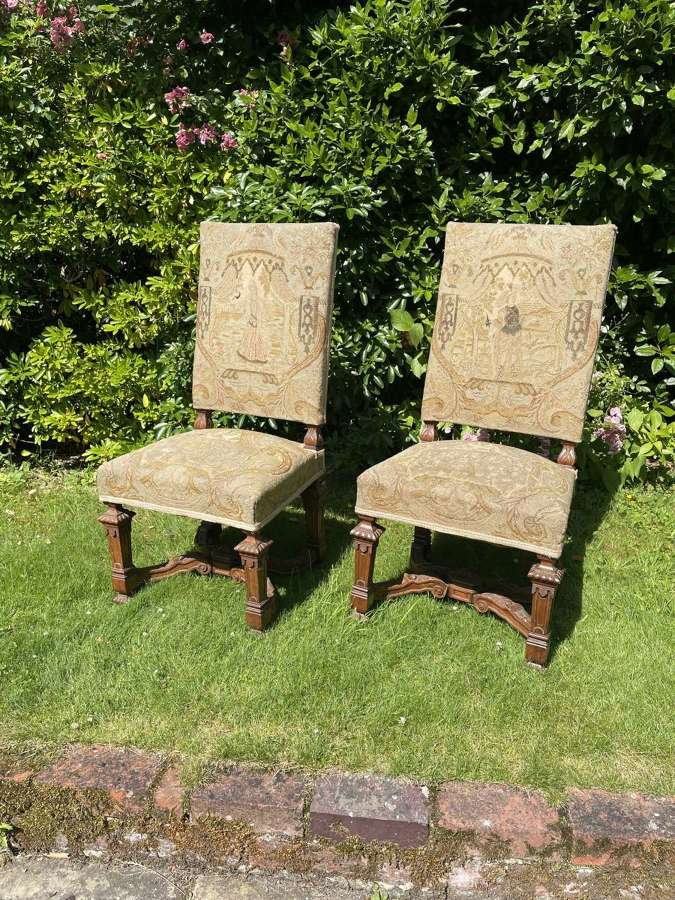 A Pair Of French Walnut Hall Chairs