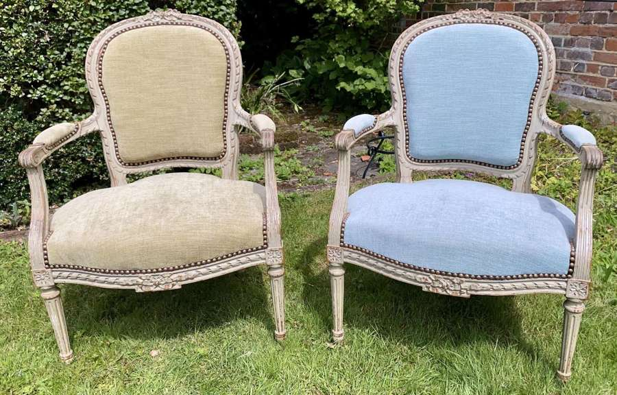 Pair of French painted armchairs