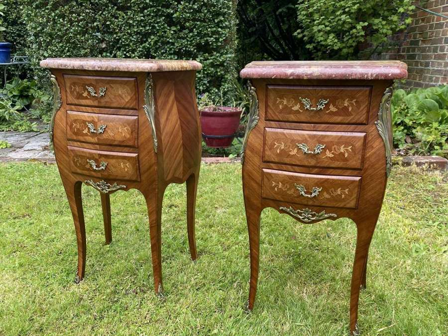 Pair of Kingwood marquetry bedside tables